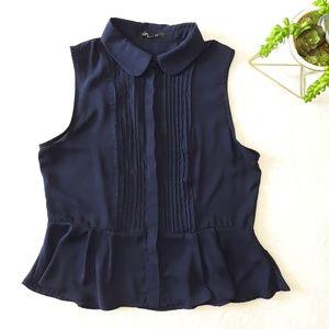 H&M  Sleeveless Button Up Peplum Blouse